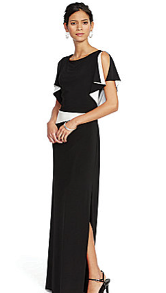 WideCurves Review: Lauren Ralph Lauren Two-Toned Jersey Gown, mine is a size 16. Image from Dillard's.com.